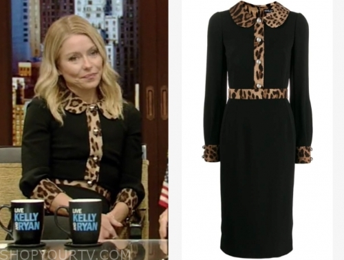 kelly ripa's black and leopard collar dress