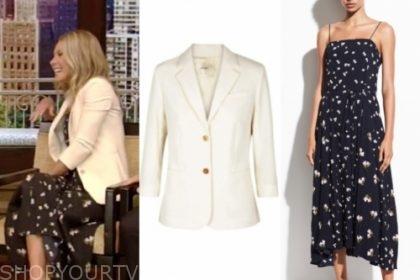 kelly ripa's ivory blazer and floral midi dress