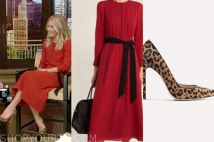 kelly ripa's red dress and leopard pumps