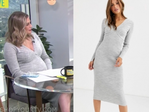 carissa culiner's grey pleated knit dress