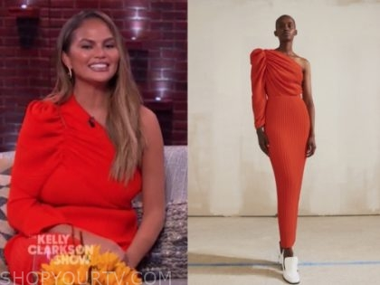 chrissy teigen's red one-shoulder midi dress