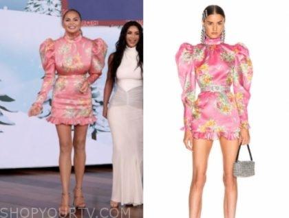 chrissy teigen's pink floral puff sleeve mini dress