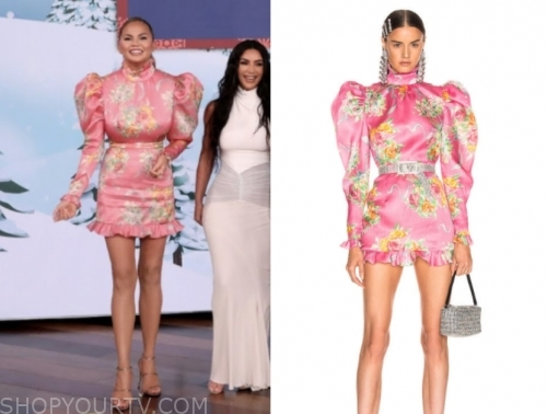 chrissy teigen's pink floral puff sleeve mini dress