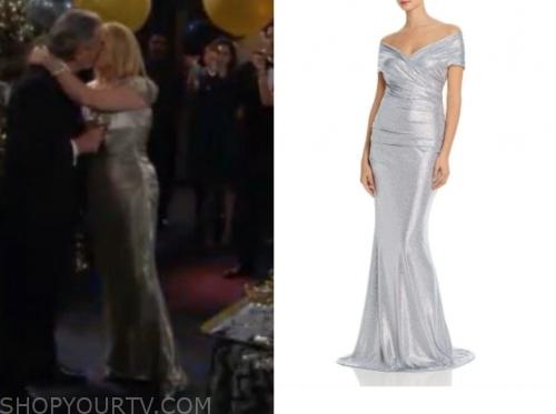 nikki newman's metallic off-the-shoulder gown