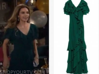 victoria newman's green ruffle gown