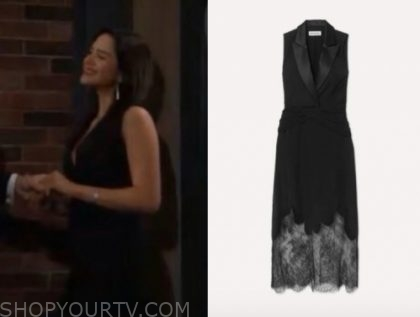 lola rosales's black lace blazer dress