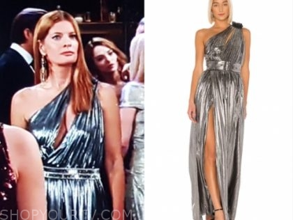 phyllis newman's silver metallic one-shoulder gown