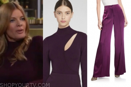 phyllis newman's purple cutout top and pants