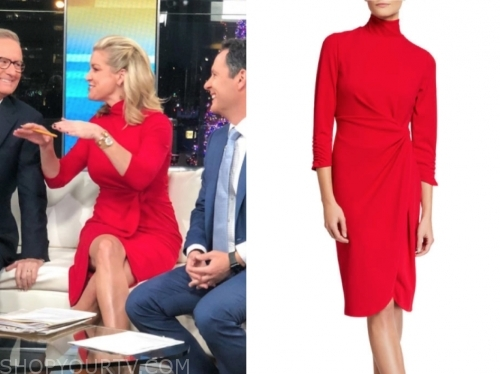 ainsley earhardt's red mock neck dress