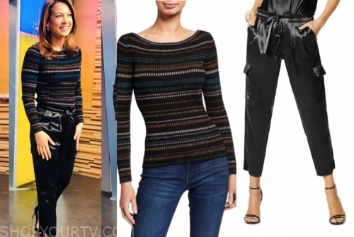 ginger zee's striped sweater and black silk cargo pants