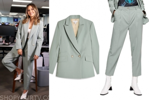 erin lim's mint green blazer and pant suit