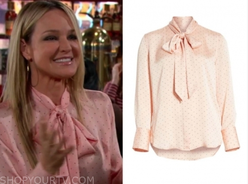 sharon newman's pink dot tie neck blouse