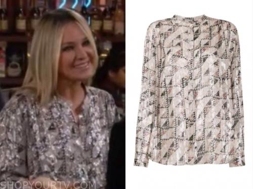 sharon newman's metallic printed blouse