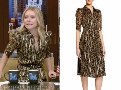 kelly ripa's gold metallic leopard dress