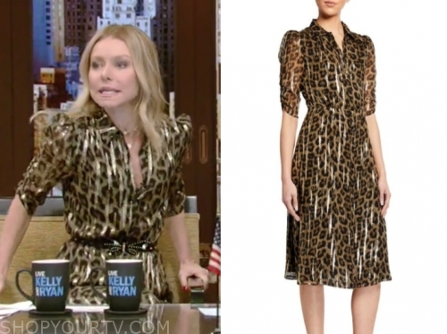 kelly ripa's gold metallic leopard dress