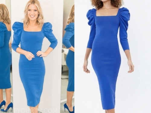 charlotte hawkins's blue puff sleeve sheath dress