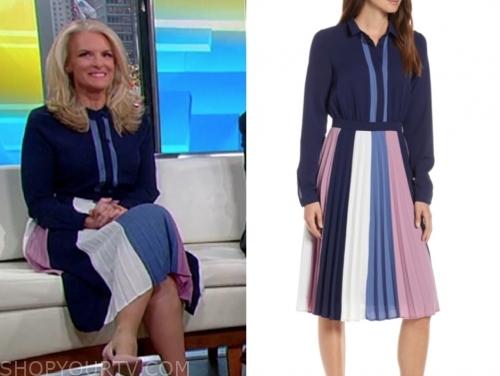 janice dean's colorblock pleated dress
