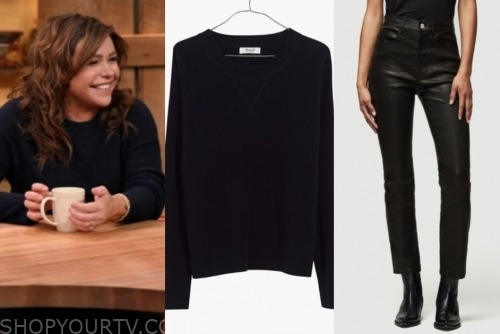 rachael ray's black sweater and black leather pants