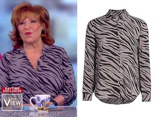joy behar's grey zebra blouse