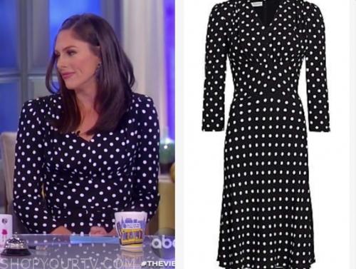 abby huntsman's black and white polka dot dress