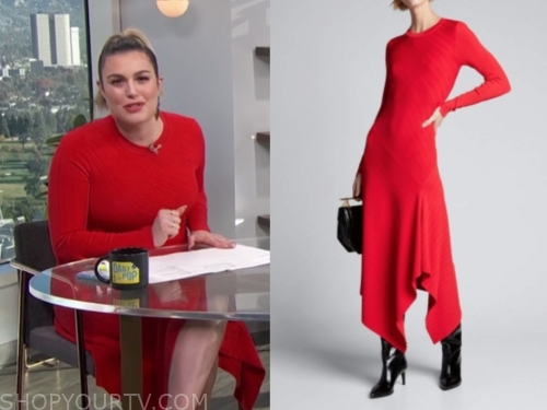 carissa culiner's red knit asymmetric dress
