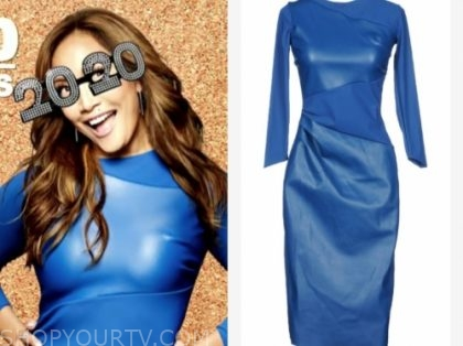 carrie ann inaba's blue leather panel dress
