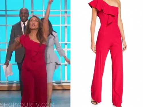 carrie ann inaba's red ruffle one-shoulder jumpsuit