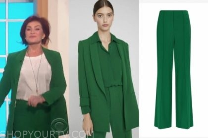sharon osbourne's green blazer and pant suit