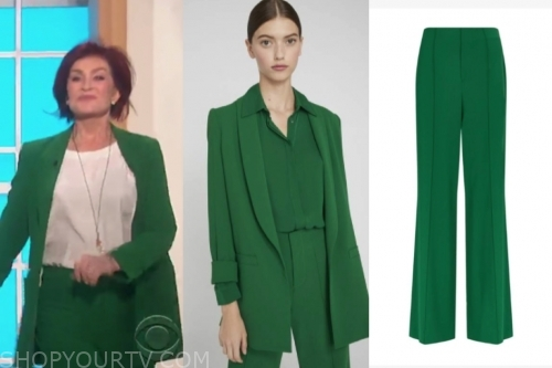 sharon osbourne's green blazer and pant suit