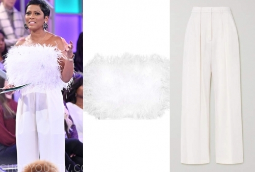 tamron hall's white feather top and white pants