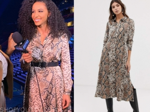 cheslie kryst's snakeskin shirt dress