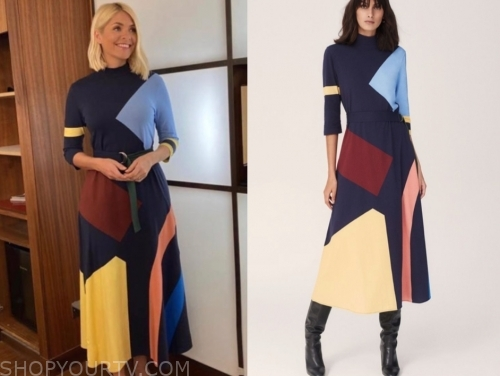 holly willoughby's colorblock midi dress