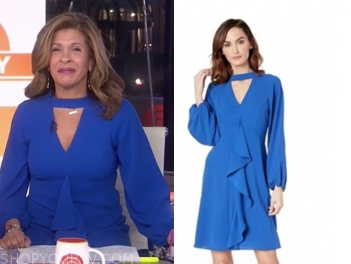 hoda koto's blue ruffle keyhole dress