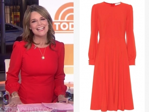 savannah guthrie's red midi dress