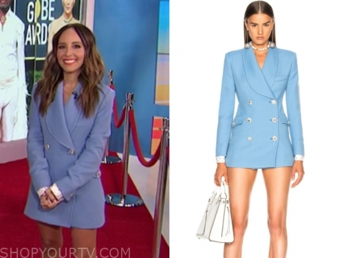 lilliana vazquez's blue double breasted blazer dress