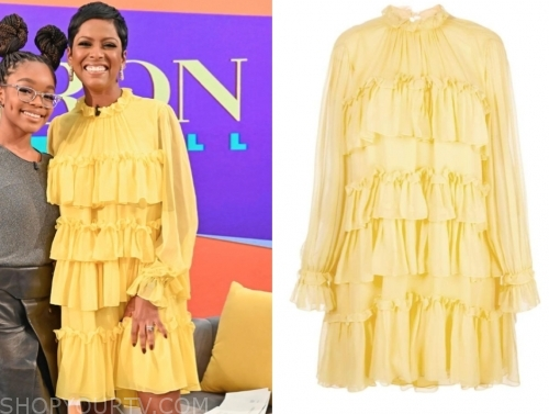 tamron hall's yellow ruffle tier dress