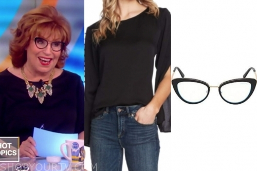 joy behar's black button shoulder top and glasses
