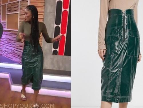 keke palmer's green midi skirt
