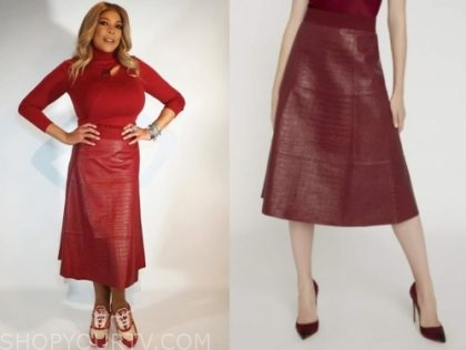 wendy williams's red snakeskin skirt
