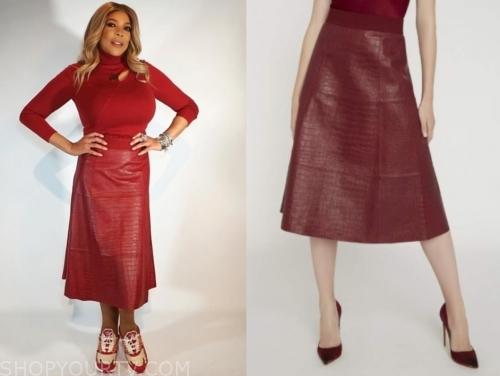 wendy williams's red snakeskin skirt
