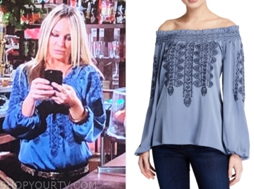 sharon newman's blue printed blouse