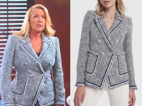 nikki newman's tweed double breasted blazer