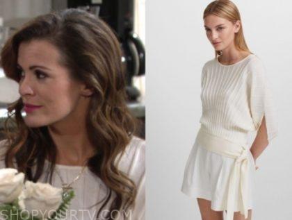 chelsea newman's white short sleeve sweater