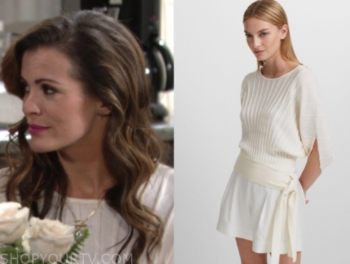 chelsea newman's white short sleeve sweater