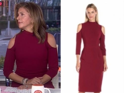 hoda kotb's burgundy cold-shoulder dress
