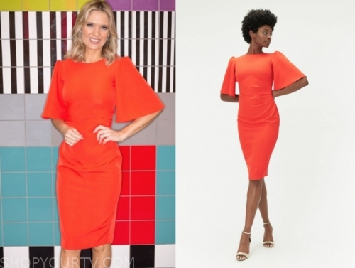 charlotte hawkins's orange flutter sleeve dress