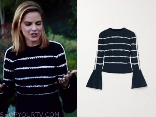 natalie morales's striped sweater