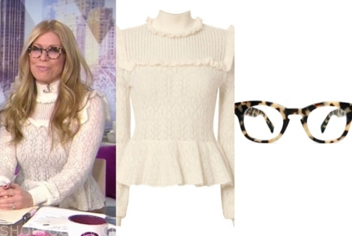 jill martin's ivory ruffle sweater and tortoise shell glasses