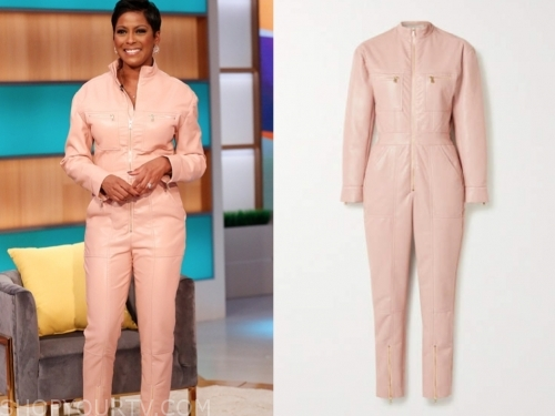 tamron hall's pink leather jumpsuit