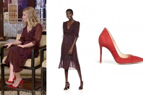 kelly ripa's polka dot midi dress and red heels